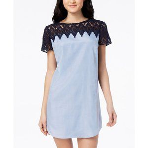 NEW City Studio Blue Crochet Trim Shift Dress XXS